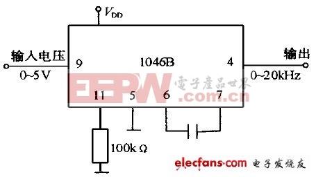 MC1046B构成的电压频率转换器电路