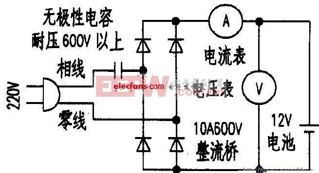 容抗限流的恒流充电电路