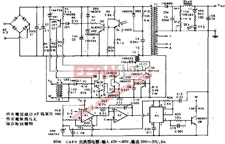 80W CATV交换型电源输入40V-60V,输出20V-2
