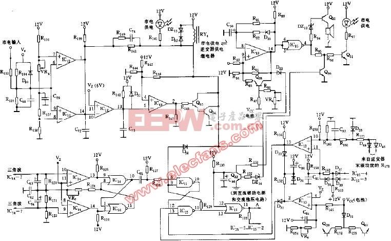 pulse后备式正弦波输出UPS的市电供电-逆变器供电