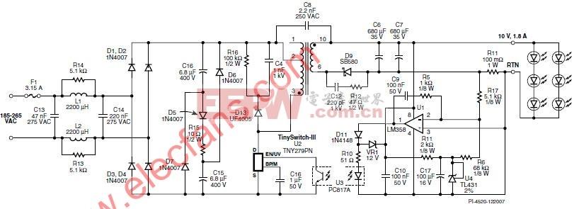 带无源PFC的LED灯驱动电源原理图