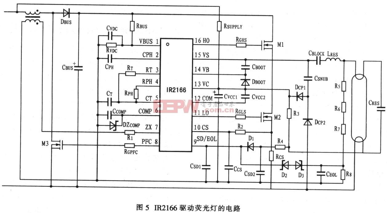 IR2166驱动电子镇流器及荧光灯的应用电路