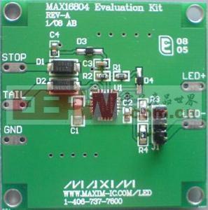 用于汽车尾灯的LED驱动器MAX16804应用电路高清图片