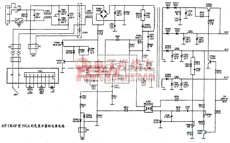 AST CM-6P型SVGA彩色显示器电源电路图
