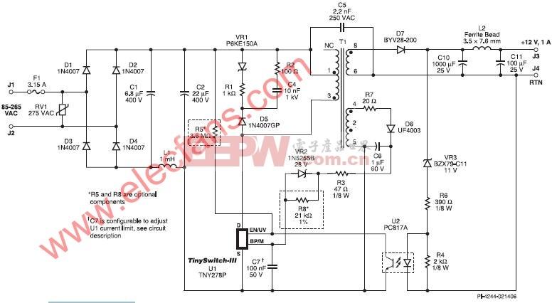 使用TinySwitch-III的12W宽电压输入的恒压适配