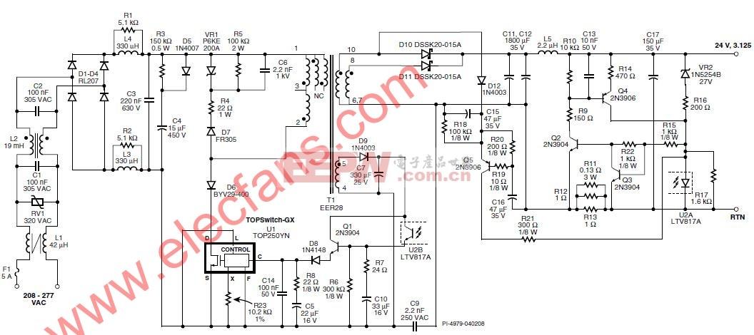 带功率因数校正的恒流LED驱动器电路