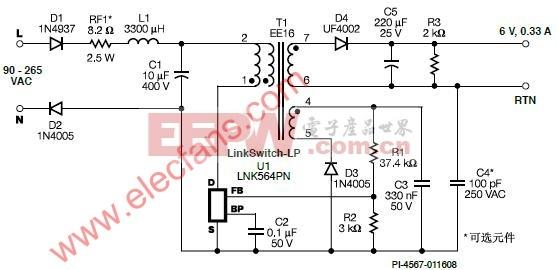 替代非稳压线性变压器电路