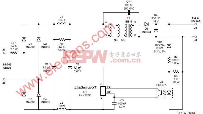 使用LNK362的2W通用输入CV适配器电路