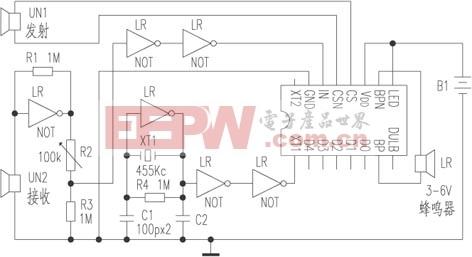 测距/超声波测距电路图:4Y2型测距报警控制专用集成电路,可用于...