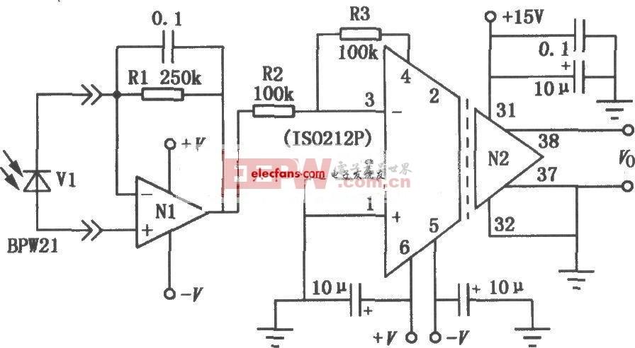 由ISO212P组成的光电二极管隔离放大电路图