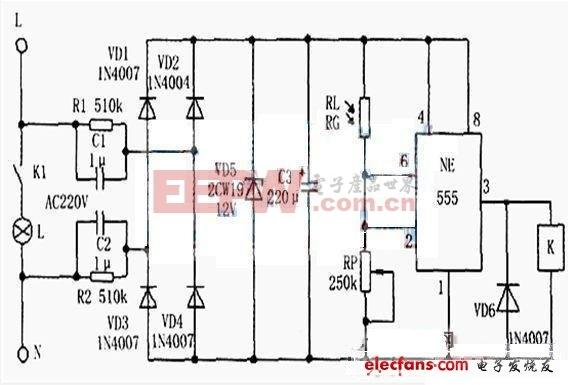 Ne555光控开光路灯电路图