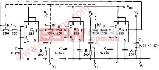 闭环三相多谐振荡器电路图