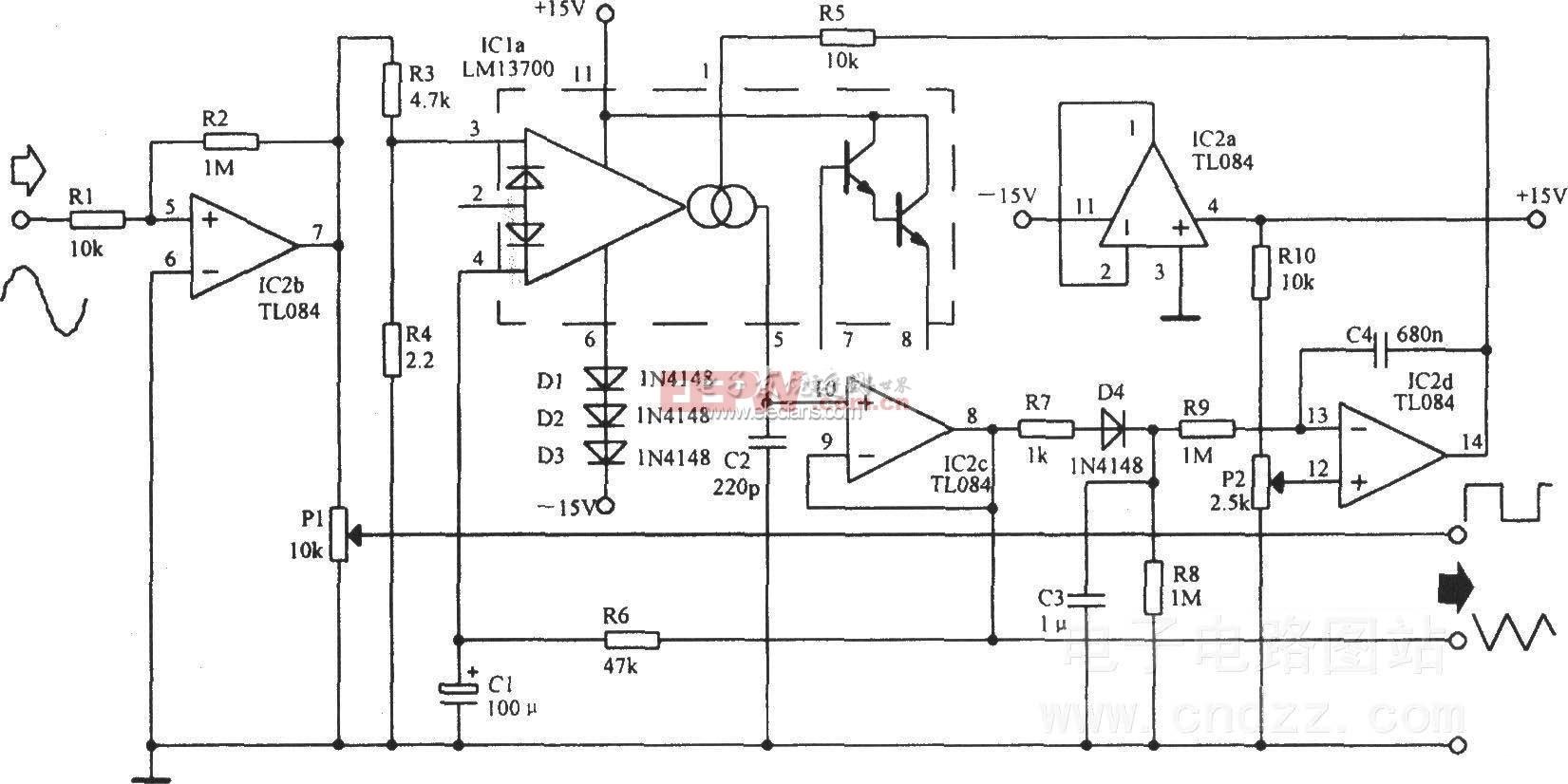 锯齿波转三角波波形转换器电路