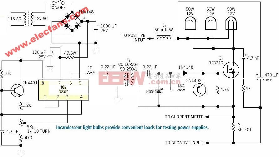 利用白炽灯泡来做电源设计试验负载的电路