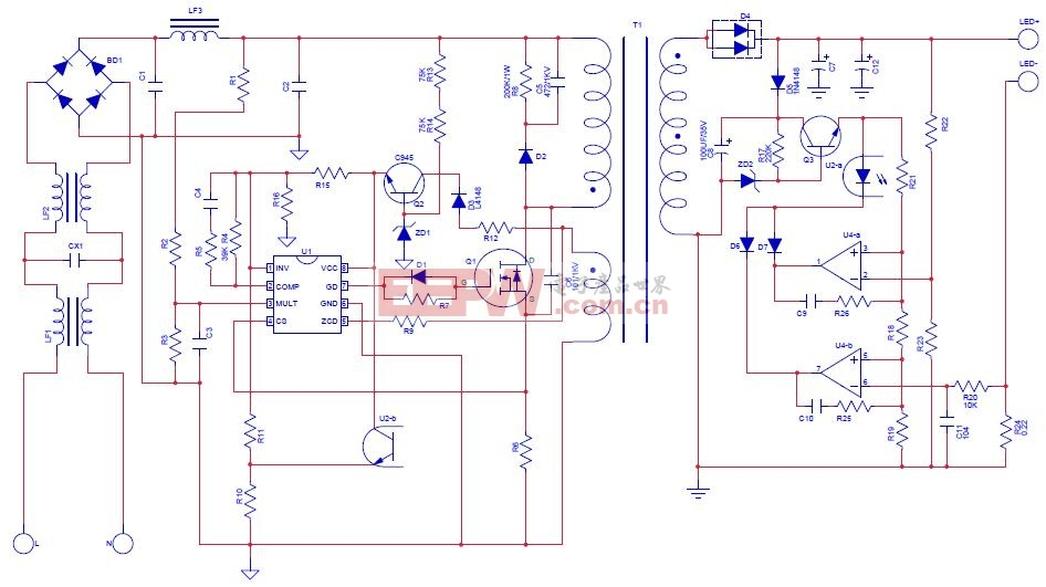 220V输入的LED灯电源电路