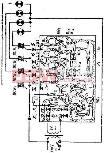 控制电路图  图中所示是一个很实用的循环彩灯控制器