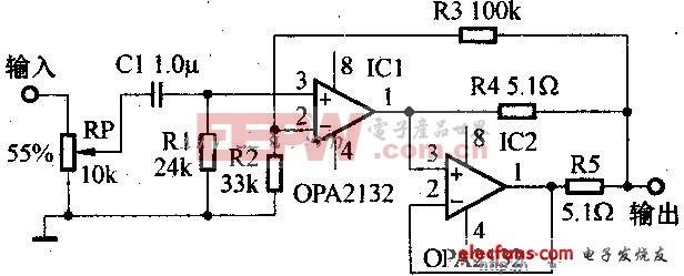 OPA2132组成的耳机放大功放电路图