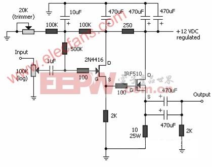 JFET-MOSFET耳机功放电路