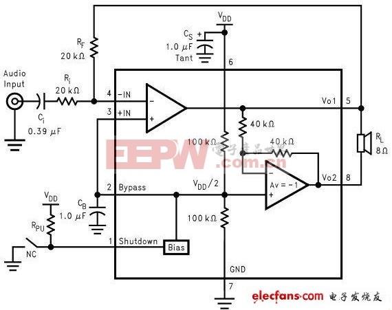 871 CSC8002低电压3W功率放大器IC应用电路原理图图片