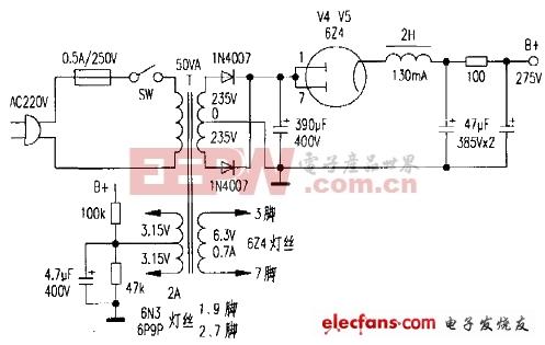 6N9C无输出变压器的耳机放大器电路