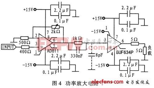 AD811和BUF634构成的功率放大电路