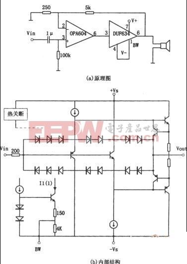 OPA604构成的音频功率放大器电路