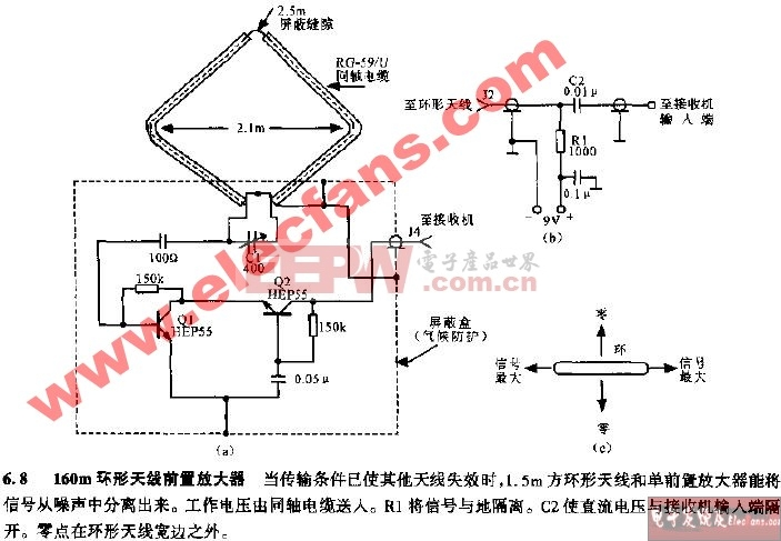 电子diy及课题设计电路图 电子制作电路图 ->160m环形天线前置放大器