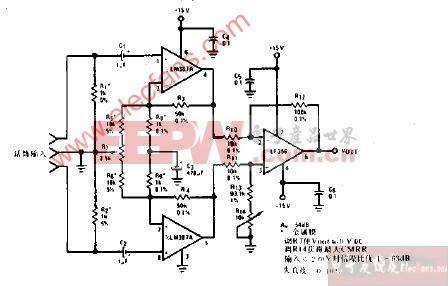 无变压器微音前置放大器放大器电路图(平衡输入