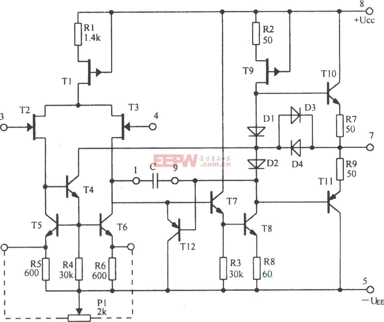 5G28集成运放电路芯片的内部结构框图原理图
