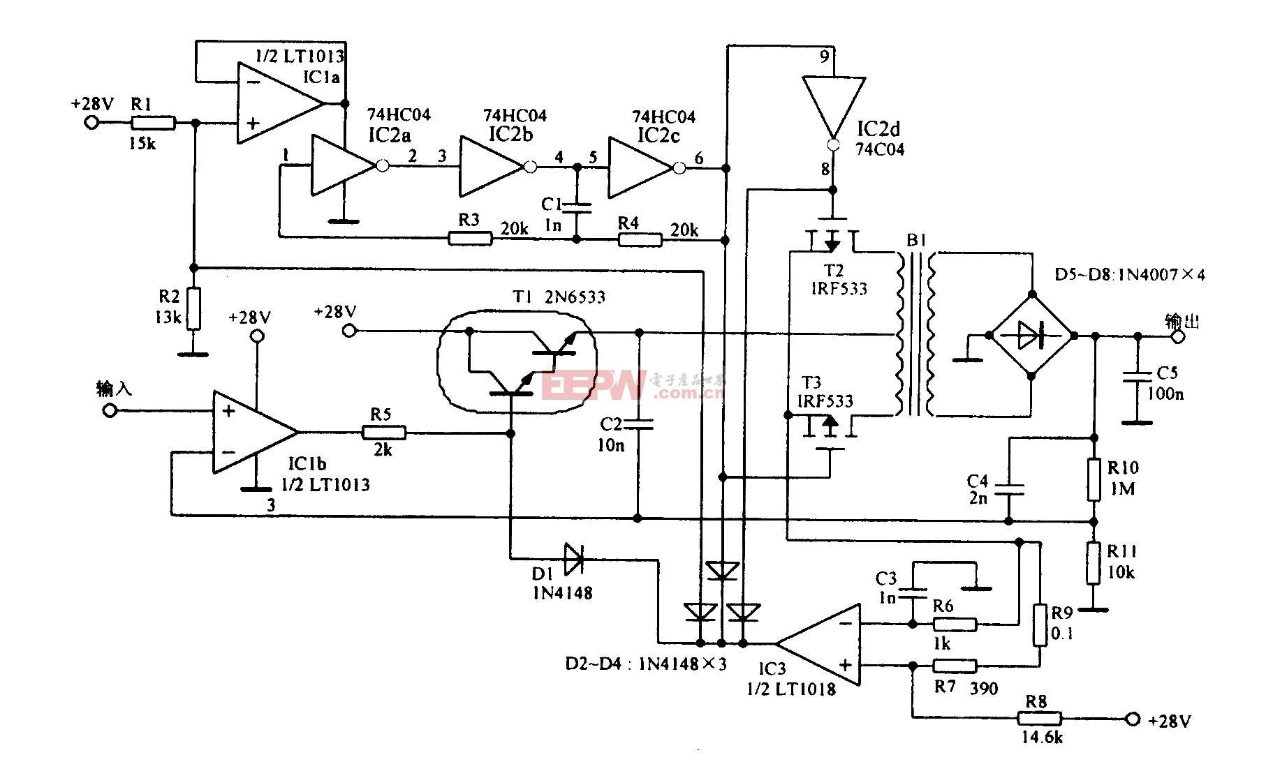 能输出1000V的放大电路图