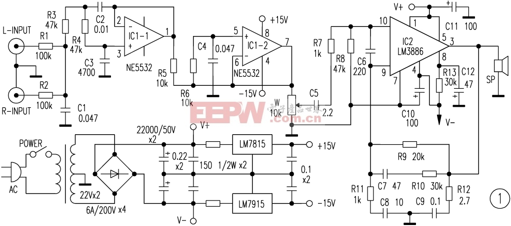 LM3886应用电路图