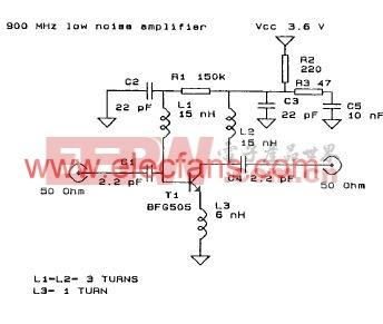 900MHZ低噪声放大器电路 www.elecfans.com