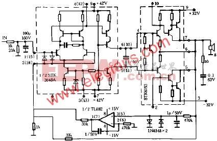 STK3048和STK6153组合的高品质功放电路原理图