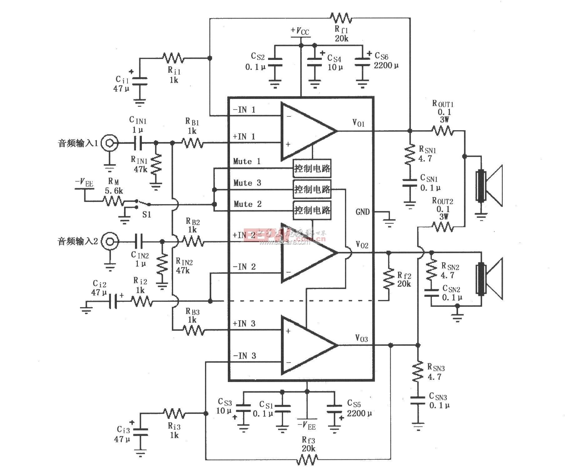 基于LM4780的音频功率放大电路原理图
