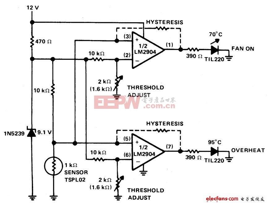 PTC热敏电阻构成的汽车温度指示器电路