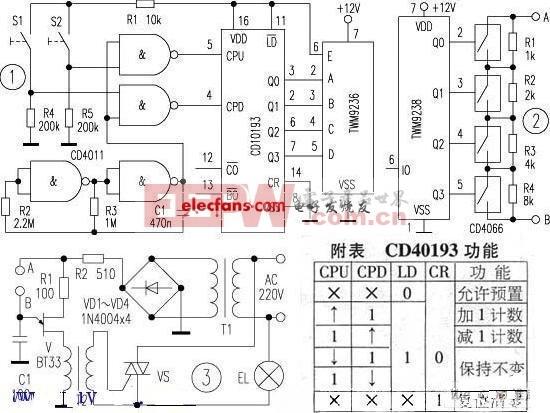 无线遥控加减电阻网络电路图