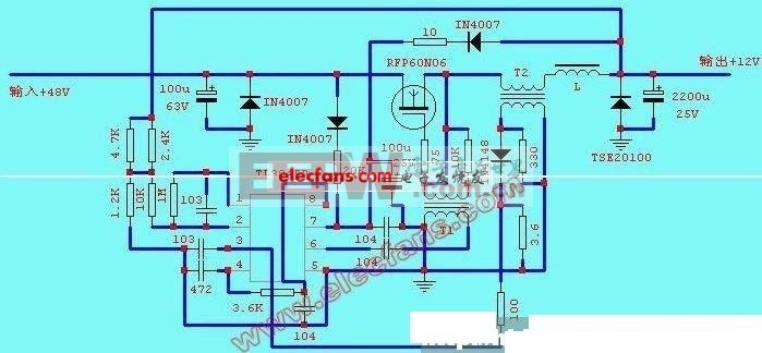 3845内部结构及引脚功能 工作原理: 本图是根据实物剖析而来,电源经D2、R1为IC1提供+12V左右的电压,6脚输出脉冲经C4和变压器耦合后驱动Q1振荡,当Q1导通后输出电流通过L经C9滤波后向负载供电,当Q1截止时,变压器式电感B3磁能转变为电能,其极性左负右正,续流二极管D4导通,电流通过二极管继续向负载供电,使负载得到平滑的直流,当输出电压过低或过高时,从电阻R11、R10、R9组成的分压电路中得到取样电压送到IC1 2脚与内部2.