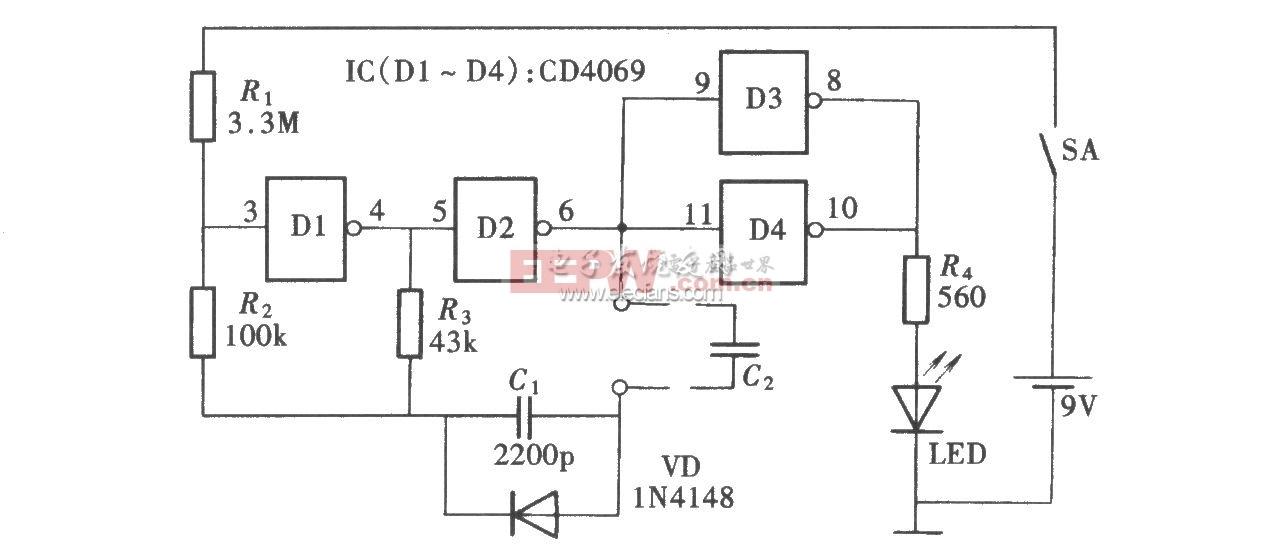 基于CD4069的电容鉴别仪电路