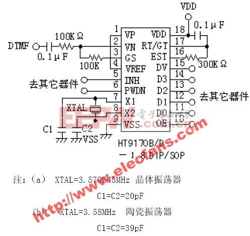ht9170应用电路