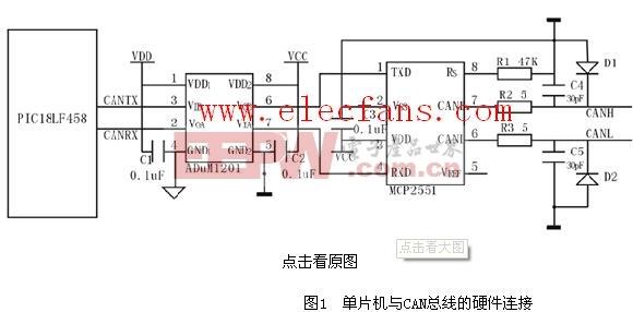 mcp2551 应用电路 电路图 电子产品世界高清图片