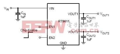 RT9011应用电路(300MA双通道输出)