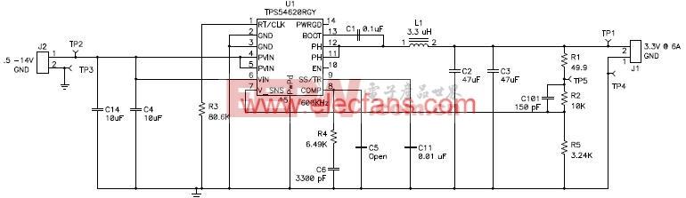 TPS54620应用电路及解决方案原理图 www.elecfans.com