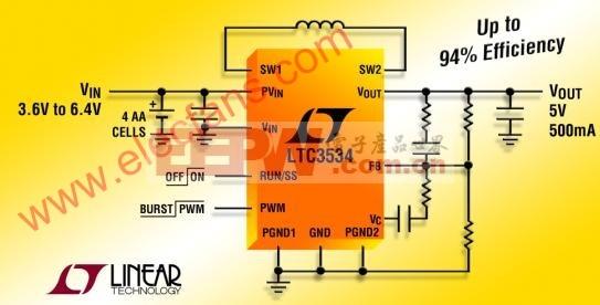 ltc3534应用电路 (升压转换器-输出5V 500mA)