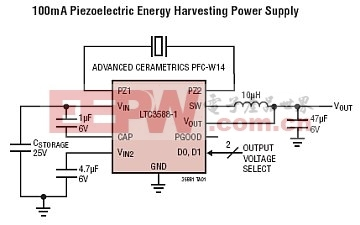 LTC3588应用电路 (压电式能量收集电源)