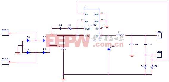 FP7102 LED Driver For MR16应用电路