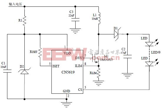 CN5619组成的输入电压大于6V的LED电路