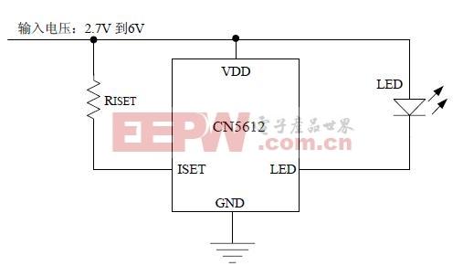 CN5612应用电路 (工作于2.7V到6V的电流调制电路)