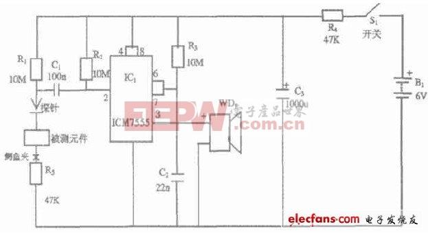 555定时器构成的单稳态触发器为基础的测试电路