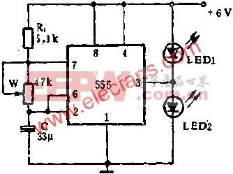 555电路组成闪光灯电路图