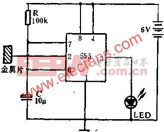 555电路组成自动控制灯电路图